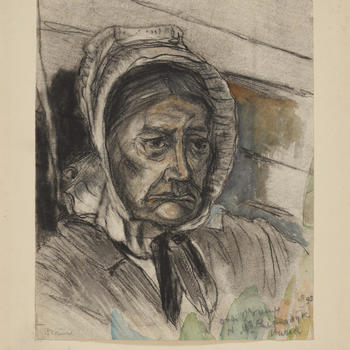 Portret van mevrouw H. Riemsdijk in streekdracht uit Varik, 1895