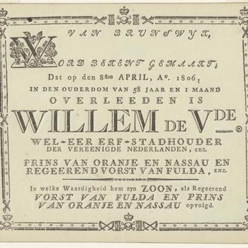 Pamflet van de bekendmaking overlijden Willem V, 1806