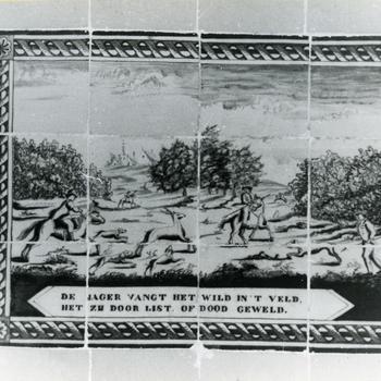 Tegeltableau met jachtscène, Orvelte, 1944