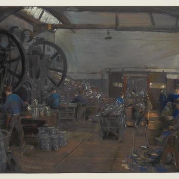 Interieur forceerinrichting Metaalwarenfabriek Terborg, 1920–1930