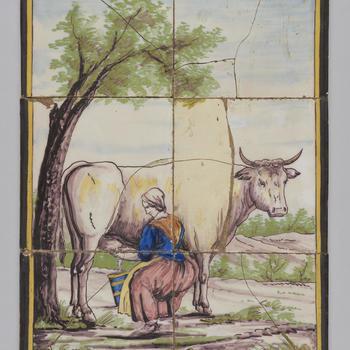 Tegeltableau met een afbeelding van een landschap met melkende boerin, circa 1860