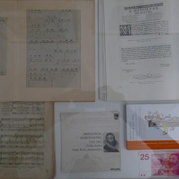 Foto's voorstellende muziek en handschrift van Jan P. Sweelinck