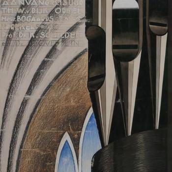 Affiche voor een orgelconcert in de Nieuwe Kerk te Kampen op 13 oktober 1937 ter herdenking van Jan Zwart door Theo W. van Dijk met zang van mevrouw Bogaards. Sprekers prof. dr. K. Schilder en ds. J. Overduin.