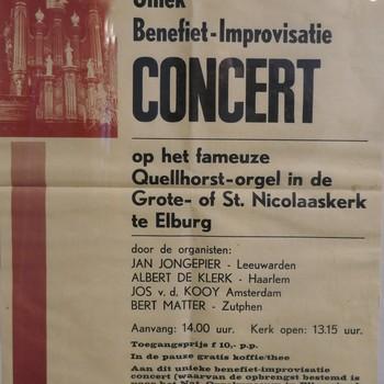 Affiche Concert in Grote- of St. Nicolaaskerk te Elburg, 31 maart 1990