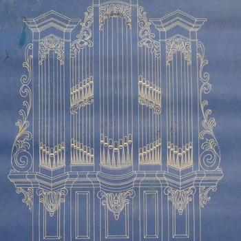 Tekening voorstellende orgelkasontwerp model 3
