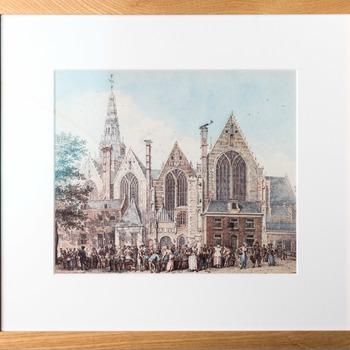 Tekening voorstellende de Oude Kerk te Amsterdam gezien vanuit het Zuiden