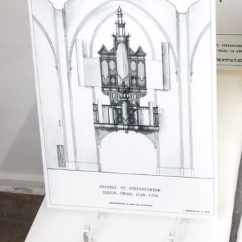 Foto voorstellende reconstructietekening Siegelorgel St. Stefanuskerk te Hasselt (1549-1725)