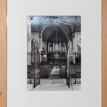 Foto voorstellende het voormaligeWitte-orgel (1882) in de Grote of Sint-Jacobskerk in Den Haag