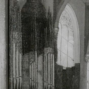 Foto voorstellende schilderij van het Niehof-orgel in de Oude Zijds Kapel te Amsterdam
