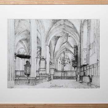 Foto voorstellende tekening van het voormalige Petersz. koororgel (ca 1504) in de Jacobikerk te Utrecht
