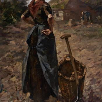 Boerenvrouw op het land