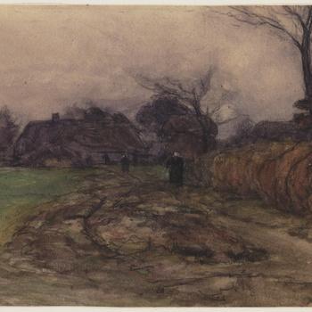 Landschap met boerderij en twee boerinnen