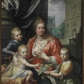 Sophie Hedwig, gravin van Nassau-Dietz, hertogin van Brunswijk-Wolfenbüttel en haar zonen, voorgesteld als Caritas