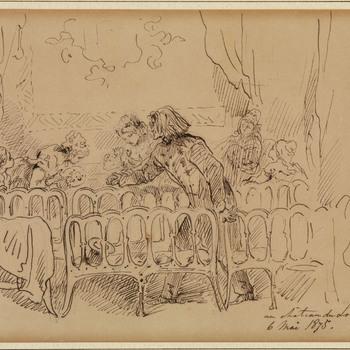 Pentekening, franz liszt (1811-1886) met enkele pensionnaires in de theaterzaal van het Loo, op de dag dat hij een recital gaf, 6 mei 1875