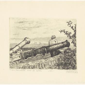 Een aanzicht van het rondeel aan de Tolhuiswal met daarop de twee kanonnen met een persoon die naar de Waal kijkt