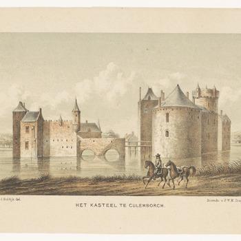 Het kasteel van Culemborg met op de voorgrond een ruiter op een paard die een ander paard leidt