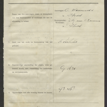 Hedel, Maasdijk; Bouw woning, 27-02-1924