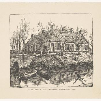 Een tekening van Het Raafje. Aan de Molenkade, vlak over de Culemborgse grens, langs de Meer, stond vroeger een herberg met de naam De Witte Raaf. Later zijn van de herberg woningen gemaakt met de naam Het Raafje, [1940]