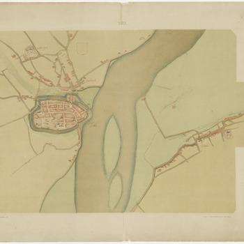 Een plattegrond van Tiel, door J. van Deventer uit het derde kwart van de zestiende eeuw. Naast de binnenstad van Tiel is ook een deel van de omgeving te zien. Zelfs de huisjes in Wamel zijn afgebeeld. Ook het klooster Westroyen is door Van Deventer getekend