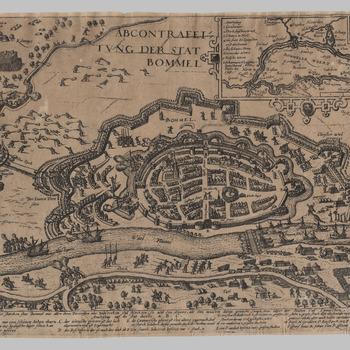 ABCONTRAFEITUNG DER STAT BOMMEL : plattegrond van Zaltbommel met verdedigingswerken tijdens het beleg van 1599