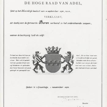 Verleend wapen aan Buren door de hoge raad van adel.