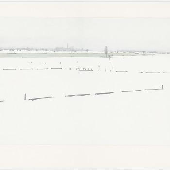 Een fraai sneeuwlandschap met de uiterwaarden, de Lek en een gezicht op de stad Culemborg, [1994]