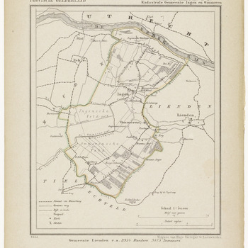 Een gemeente kaartje van Lienden. De gemeente grens is ingetekend en ingekleurd