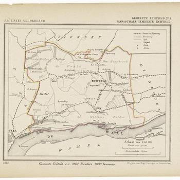 Een gemeente kaartje van Echteld. De gemeente grens is ingetekend en ingekleurd