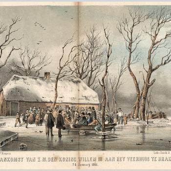 Een groep mensen kijkt toe hoe koning Willem I in een roeibootje aan land komt bij het veerhuis te Brakel. Op de achtergrond een zeilvrachtboot in het ijs.