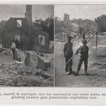 Brand in het dorp Brakel, gelegen nabij Zaltbommel