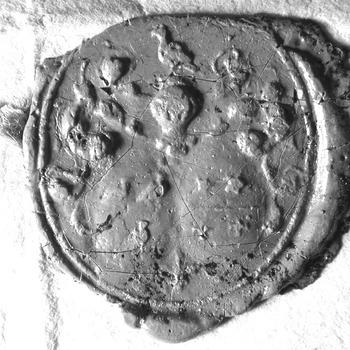 Zegel van: Johan Duijmaer Johan Duijmaer, gehuwd met van Catharina van Halsenbergh, d.d. 8 aug. 1732 schepen in de Hoge Bank van Driel, zegelt met het alliantiewapen Duijmaer-van Halsenbergh