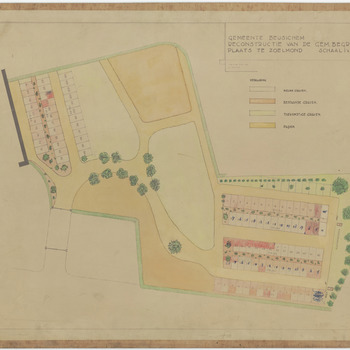 Een tekening van de gemeentelijke begraafplaats van Zoelmond, waarop de graven met de grafnummers zijn ingetekend. In een kleurenlegenda worden de bestaande en toekomstige graven aangeduid. De graven zijn eerste klas, tweede klas en derde klas, 1943