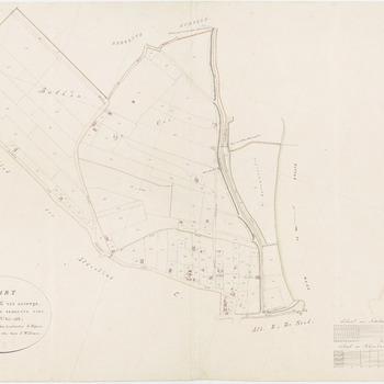 Kadastrale kaart van de afdeling C of sectie C van Zandwijk. Bij deze kaart is het oosten boven. Vermeld zijn: De Bulken, de Ooi, Kleine Ronduit, Veerhuis, de Medelsche Straat, Zandweg van Amerongen naar Tiel en de Zandwijksche Dijk
