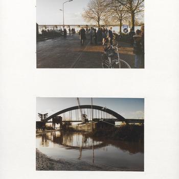 Hoogwater in de Betuwe. Foto's gemaakt voor de evacuatie. Gevaar van dijkdoorbraak van de Waal. Ochten. Inwoners bij de Veerstoep, De Lek en de Spoorbrug