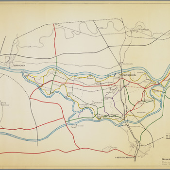 Kaart van de Bommelerwaard met daarop aangeven de rivieren, dijken, (geplande) wegen,