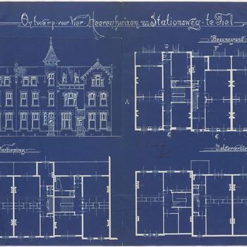 Een bouwtekening van de vier herenhuizen aan de Stationsstraat 10 t/m 16, in opdracht van J.N. Daalderop. De tekening toont een vooraanzicht en enkele plattegronden