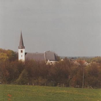 Weide met bossages. Op de achtergrond de kerk
