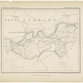 Een gemeente kaartje van Maurik. De gemeente grens is ingetekend en ingekleurd