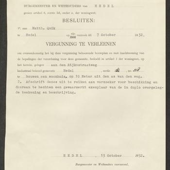 Hedel, Koningin Wilhelminastraat; Bouw boerderij, 13-10-1932