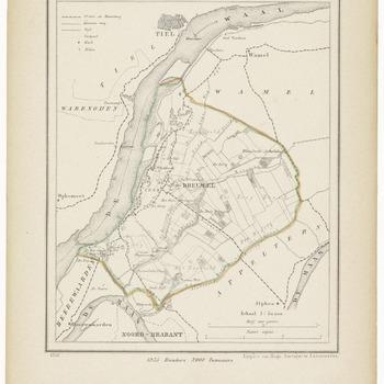 Een gemeente kaartje van Dreumel. De gemeente grens is ingetekend en ingekleurd