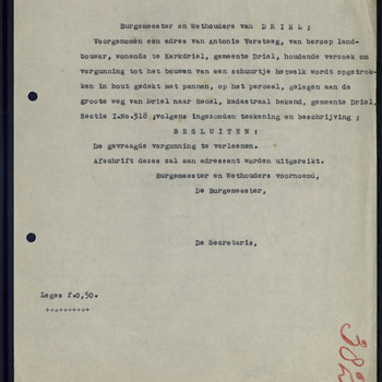 Kerkdriel; Bouw schuur, 30-05-1934