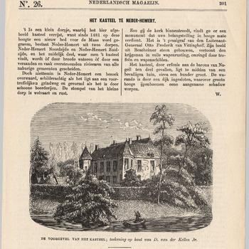 DE VOORGEVEL VAN HET KASTEEL : Gezicht op kasteel Nederhemert