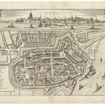 Een plattegrond van Tiel, met linksonder een legenda van de belangrijke gebouwen in de binnenstad. Boven een stadsprofiel van Tiel vanaf de Waalzijde
