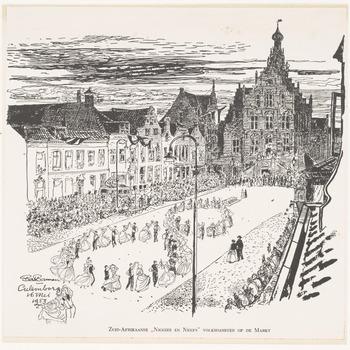 Een volksdansfeest op de Markt in Culemborg op 16 mei 1953 als herdenking van het werk van Jan van Riebeeck, 1953