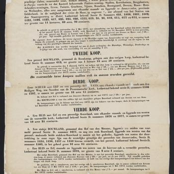 Bekendmaking van de openbare verkoping van het kasteel te Ammerzoden met bijbehorende onroerende goederen en rechten onder Ammerzoden in elf delen, door notaris Ummels te 's-Hertogenbosch in februari 1873