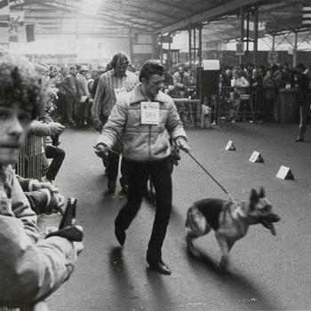 Op de foto een examen voor de hondenclub in de veilinghal, man met krullenbol is Han Reinders
