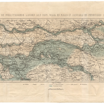 De overstroomde landen aan Rijn, Waal en Maas in januarij en februarij 1861 [Kaart van de overstroomde gebieden bij de watersnood van 1861]