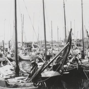 De zeilboten die meedoen aan de Tiel-Merwederace liggen in de Nieuwe Haven. De foto is gemaakt enige uren voordat de zeilrace begint