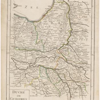 Een overzichtskaart van het Hertogdom Gelre, met de hoekpunten de plaatsen Naarden, Zwolle, 's-Hertogenbosch en Venlo. Linksonder de titel en linksboven het nummer 21