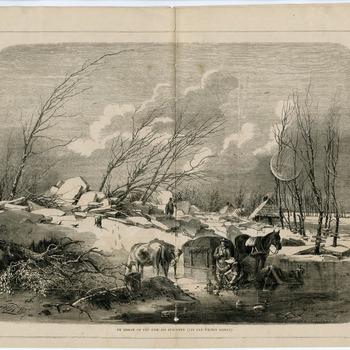 Een prent van een ijsdam op de dijk bij Zuilichem tijdens de watersnoodramp van 1861